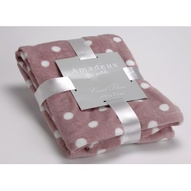 Plaid doudou rose pois